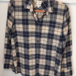 J Crew blue cotton plaid popover boyfit blouse